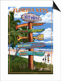 Key West, Florida - Destination Signs Posters