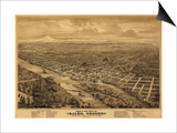Oregon - Panoramic Map of Salem Print by  Lantern Press