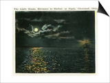Cleveland, Ohio - Lighthouse, Harbor Entrance from Ocean at Night Prints by  Lantern Press