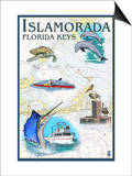 Islamorada, Florida Keys - Nautical Chart Prints by  Lantern Press