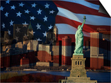 Skyline View with the Statue of Liberty Landmark and American Flag Background in New York City Posters