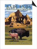 Badlands National Park, South Dakota - Bison Scene Posters