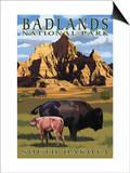 Badlands National Park, South Dakota - Bison Scene Posters by  Lantern Press