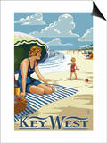 Key West, Florida - Beach Scene Prints by  Lantern Press