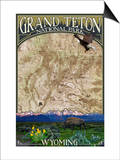Grand Teton National Park, Wyoming - Topographical Map Poster by  Lantern Press