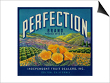 Perfection Orange Label - Colton, CA Prints by  Lantern Press