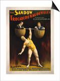 Lantern Press - The Sandow Trocadero Vaudevilles Weightlifting Poster - Art Print