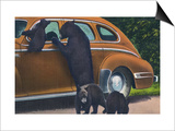 Great Smoky Mts. Nat'l Park, Tn - View of Black Bear and Cubs Looking in a Car, c.1940 Prints by  Lantern Press