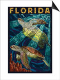 Sea Turtle Paper Mosaic - Florida Poster by  Lantern Press