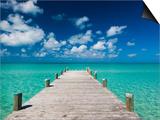 Bahamas, Eleuthera Island, Tarpum Bay, Town Pier Prints by Walter Bibikow