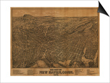 New Haven, Connecticut - Panoramic Map Art by  Lantern Press