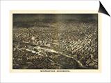 Minneapolis, Minnesota - Panoramic Map Prints by  Lantern Press