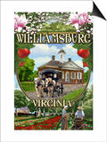 Williamsburg, Virginia - Montage Scenes Prints by  Lantern Press
