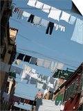 Apartment Buildings with Laundry Hanging Out to Dry on Clothes Line Print