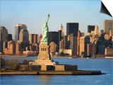 Skyline View of Manhattan, New York with the Statue of Liberty Landmark Art