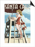 Lifeguard Pinup Girl - Santa Cruz, California Prints by  Lantern Press