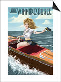 Lake Winnipesaukee, New Hampshire - Pinup Girl Boating Art by  Lantern Press