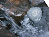 Rock with the Word Smile in Rushing Water Print