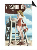 Virginia Beach, Virginia - Pinup Girl Lifeguard Poster by  Lantern Press