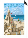 Myrtle Beach, South Carolina - Sandcastle Print by  Lantern Press
