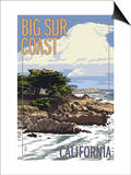Big Sur Coast, California - View of Cypress Trees Prints by  Lantern Press