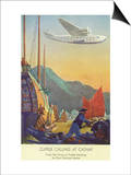 Pan-American Clipper Flying Over China - Hong Kong, China Prints