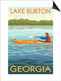 Lake Burton, Georgia - Kayak Scene Posters by  Lantern Press