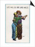 Comic Cartoon - Cowgirl and Cowboy Dancing; Life's Gonna Be One Long Waltz Posters by  Lantern Press
