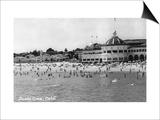 Santa Cruz, California - Crowds on the Beach Photograph Print by  Lantern Press