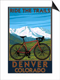 Denver, Colorado - Mountain Bike Scene Prints by  Lantern Press