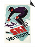 Ski Vermont - Retro Skier Print by  Lantern Press