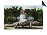 Los Angeles, California - Girl Riding Alligator at the Farm Obra de arte por Lantern Press