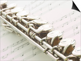 Silver Flute on Sheet of Music Prints