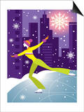 Woman Figure Skater Performing Outdoors in City at Night Prints
