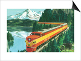 California - Southern Pacific Daylight Train Passing Mt Shasta Print by  Lantern Press
