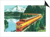 California - Southern Pacific Daylight Train Passing Mt Shasta Print by  Lantern Press