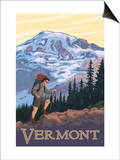 Vermont Mountain Hiker Prints by  Lantern Press