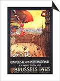 Brussels, Belgium - Lebaudy Airship with World Flags at Expo Prints by  Lantern Press