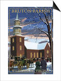 Williamsburg, Virginia - Bruton Parish in Snow Art by  Lantern Press