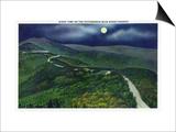North Carolina - Moonlight Scene on the Picturesque Blue Ridge Parkway Prints by  Lantern Press