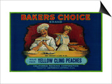 Bakers Choice Peach Label - San Francisco, CA Art by  Lantern Press