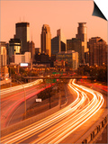 USA, Minnesota, Minneapolis, City Skyline from Interstate Highway I-35W Posters by Walter Bibikow