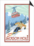 Wyoming Skier and Tram, Jackson Hole Prints