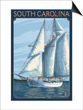South Carolina Sailboat Prints by  Lantern Press