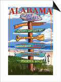 Gulf Shores, Alabama - Sign Destinations Prints by  Lantern Press