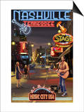 Nashville, Tennessee - Broadway at Night Print by  Lantern Press