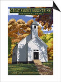 Cades Cove Baptist Church - Great Smoky Mountains National Park, TN Prints by  Lantern Press