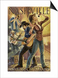 Nashville, Tennessee - Country Band Scene Prints by  Lantern Press