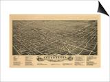 Greensboro, North Carolina - Panoramic Map Print by  Lantern Press
