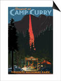 Firefall and Camp Curry - Yosemite National Park, California Pósters por  Lantern Press